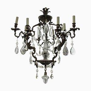 Lámpara de araña francesa rococó antigua de bronce y vidrio tallado