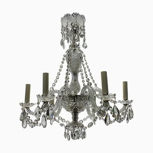 Small French Cut Glass Chandelier, 1930s
