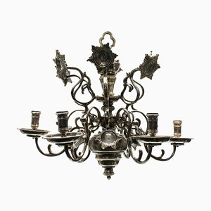 Lámpara de araña flamenca antigua de bronce y plata