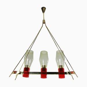 Lámpara de techo italiana de latón y vidrio, años 50