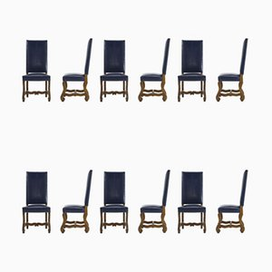 French Walnut and Blue Leather Dining Chairs, 1940s, Set of 12