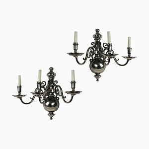 Antique Flemish Silver-Plated Bronze Sconces, Set of 2