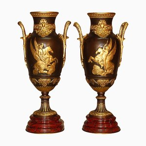 Antique 19th-Century Bronze & Red Marble Vases, Set of 2