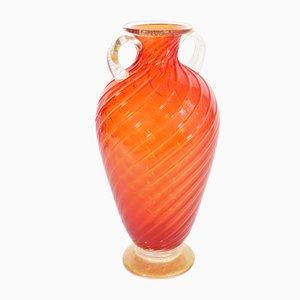 Ánfora vintage en vidrio coral y pan de oro de Cenedese para Seguso, años 90