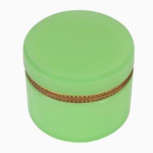 Italienische Vintage Schmuckdose aus grünem Opalglas & Messing von Cenedese, 1970er