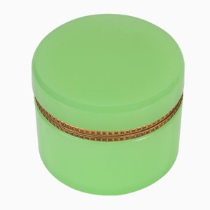 Vintage Italian Green Opaline Glass & Brass Jewelry Box from Cenedese, 1970s