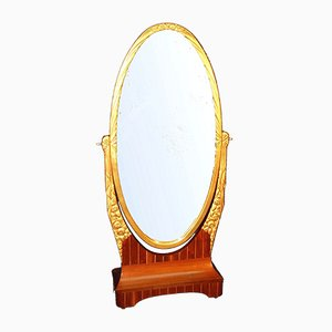 Art Deco Rosewood & Golden Metal Mirror, 1920s