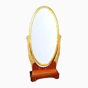 Specchio Art Déco in palissandro e metallo dorato, anni '20
