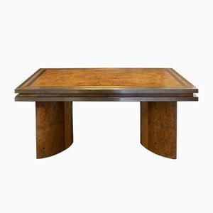 Mesa de comedor italiana vintage de madera nudosa y latón, años 50