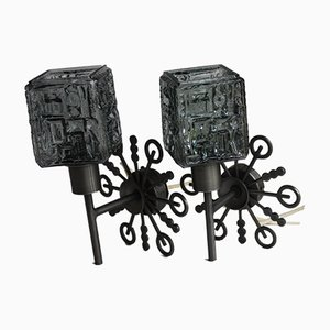 Mid-century Danish Metal Iron & Glass Wall Lights Sconces, Set of 2