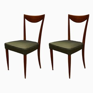 Mahogany & Green Silk Side Chairs, 1950s, Set of 2