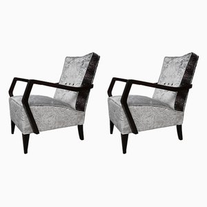 Italian Beech & Velvet Armchairs, 1950s, Set of 2