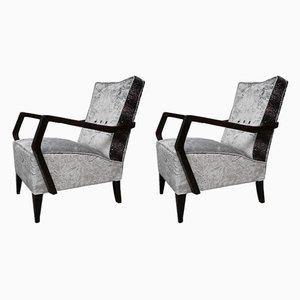 Italienische Sessel mit Gestell aus Buche & Bezug aus Samt, 1950er, 2er Set