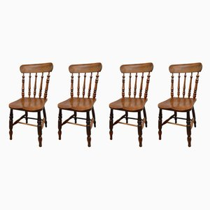 Antique Elm Dining Chairs, Set of 4