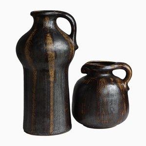 Jarrón alemán Mid-Century de cerámica de Gerda Heuckeroth para Carstens Tönnieshof, años 70. Juego de 2