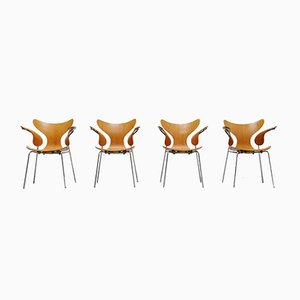 Model 3208 Seagull Dining Chairs by Arne Jacobsen for Fritz Hansen, 1972, Set of 4