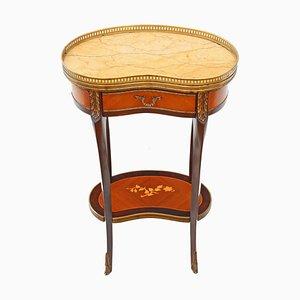 Antiker französischer Nachttisch mit Marmorplatte & Intarsien