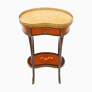 Antique French Inlaid Marquetry & Marble Bedside Table