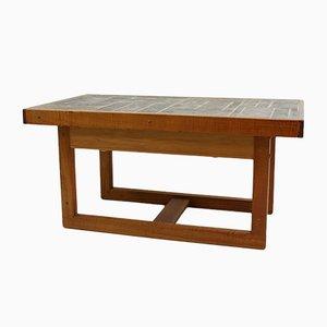 Mesa de centro vintage de teca y piedra