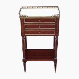 Antique French Mahogany & Marble Bedside Table
