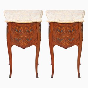 Antique French Marquetry Inlaid & Marble Bedside Tables, Set of 2