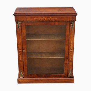 Antique Inlaid Walnut Display Cabinet, 1880s