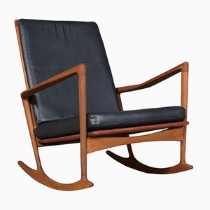Model 650-15 Black Aniline Leather and Teak Rocking Chair by Ib Kofod Larsen for Christian Linneberg, 1960s