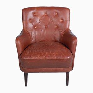 Danish Cognac Leather Armchair, 1960s