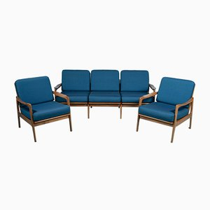 Blue Cherry Wood Sofa and Armchairs, 1960s, Set of 3