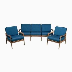 Sofa & Armlehnstühle mit Gestell aus Kirschholz & blauem Bezug, 1960er, 3er Set