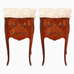 Antique French Mahogany Inlaid & Marble Bedside Tables, Set of 2
