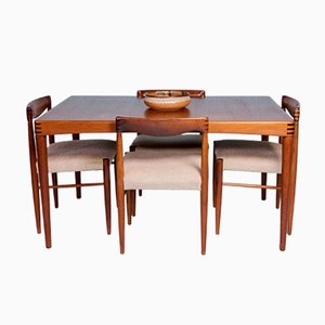 Extendable Dining Table & Chairs Set by H.W. Klein for Bramin, 1950s, Set of 5