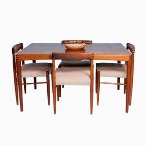 Tavolo da pranzo allungabile e sedie di H.W. Klein per Bramin, anni '50, set di 5