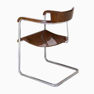 Vintage Bauhaus Armlehnstuhl mit verchromtem Stahlrohrgestell von Jindřich Halabala für UP Závody