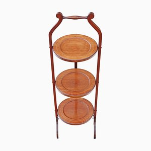 Antique Edwardian Mahogany Inlaid Folding Cake Stand