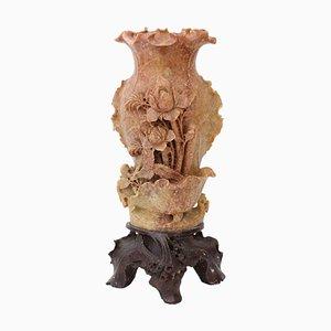 Large Antique Chinese Soapstone Vase on Stand