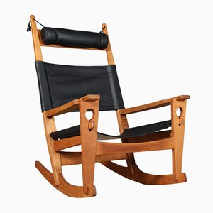 Model Nøglehullet Black Aniline Leather Rocking Chair by Hans J. Wegner for Getama, 1980s