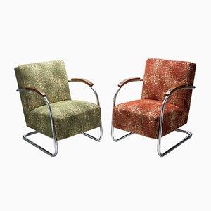 Vintage Sessel mit verchromtem Stahlrohrgestell von A. Lorenz für Kovona, 2er Set