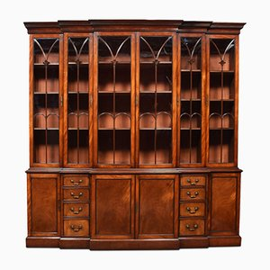 Antique Mahogany Double Breakfront Bookcase