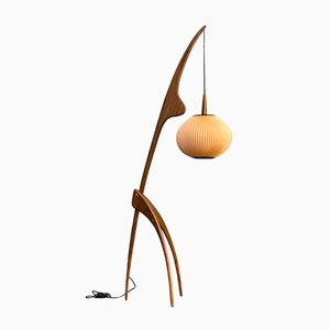 French Praying Mantis Floor Lamp by Jean Rispal for Rispal, 1950s