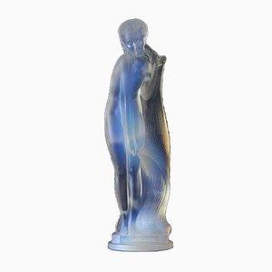 Escultura femenina de vidrio esmerilado de Etling et Cie, años 30