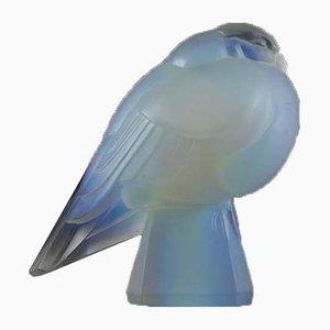 Figura de pájaro francesa de vidrio opalino de Verrerie d'Art Sabino, años 30