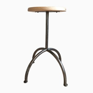 Industrial Metal & Wood Stool, 1950s