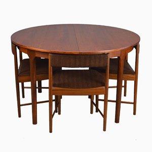 Juego de mesa de comedor extensible Mid-Century de teca con cuatro sillas de McIntosh, años 60