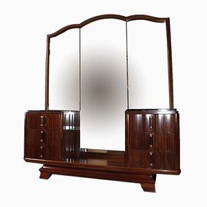 Art Deco Mahogany and Marble Vanity Cabinet by Gaston Poisson, 1930s