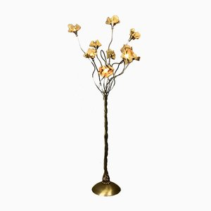 Italian Brass Tree Floor Lamp With Brass Flowers, 1970s