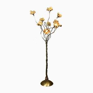 Italienische Messing Stehlampe mit Messing Blumen, 1970er