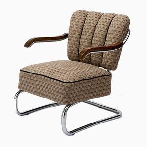 Vintage Bauhaus Sessel mit verchromtem Stahlrohrgestell