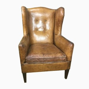Vintage Wingback Chair In Sheep Leather, 1970s