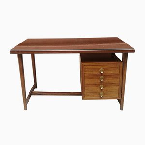 Mid-Century Italian Wood, Brass & Glass Desk, 1950s